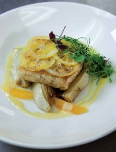 Wild Alaskan Halibut with roasted fennel, meyer lemon confit and citrus beurre blanc