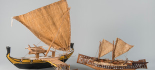 Models of Micronesian sailing canoes.