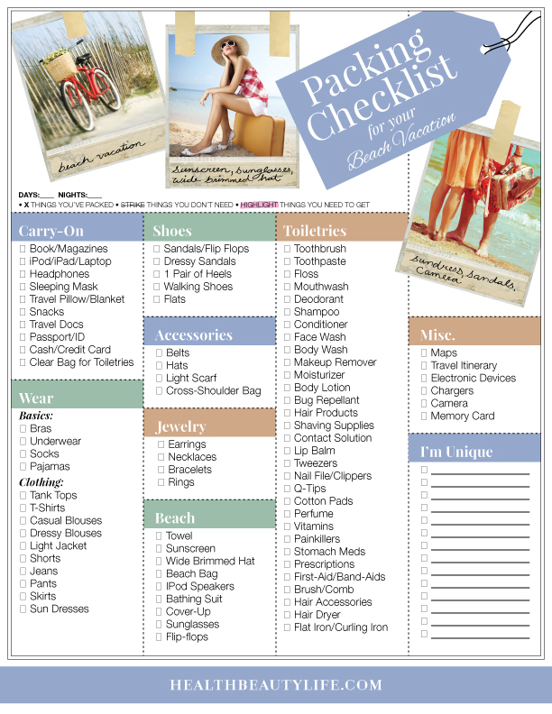 Vacation Checklist - Packing Checklist