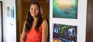 Surrounded by her artwork, Kimi Werner in her North Shore O'ahu home.