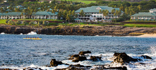 The beachfront property of Four Seasons Resort of Lāna'i at Mānele Bay.