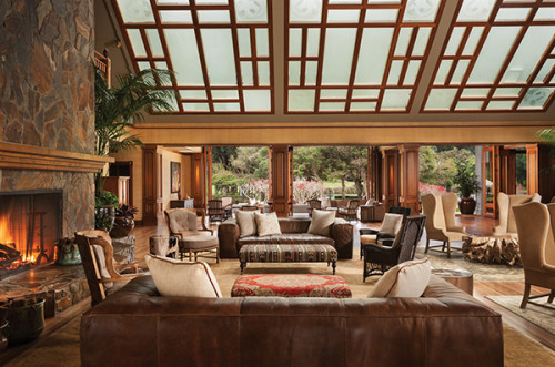 Four Seasons Resort Lanai, The Lodge at Koele's, elegant Great Hall Fireplace Room is an ideal place for couples.