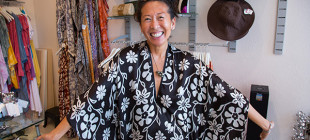 The very vivacious Maggie Coulombe in her boutique in Whalers Village on Maui.