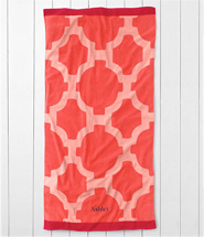 Lands' End Tile Beach Towel - Coral Bliss Tile