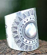 Sterling silver wrap ring, 'Hill Tribe Sun' (Thailand)