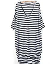 Black White Striped V Neck Loose Dress