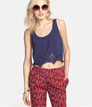 Embroidered Hem Crop Tank (Juniors)