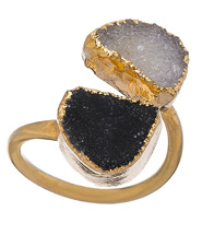 Black and White Double Druzy Ring