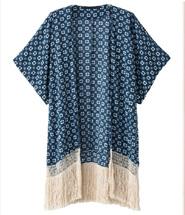 Shelnside Navy Short Sleeve Floral Tassel Loose Kimono