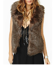 Tan Wavy Striped Notch Collar Faux Fur Vest For Women