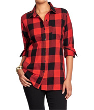 Womens Plaid Flannel Boyfriend Shirts - Red buffalo plaid