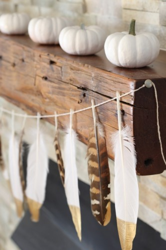 gold feather dipped garland