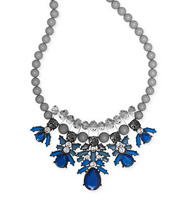Bar III Hematite-Tone Blue Crystal Statement Necklace
