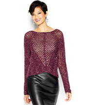 Bar III Long-Sleeve Scoop-Neck Cable-Knit Sweater