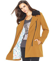 Rachel by Rachel Roy Faux-Fur Trim Moto Car Coat