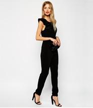 ASOS Shoulder Frill Jumpsuit - Black