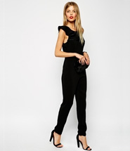ASOS Shoulder Frill Jumpsuit - Black