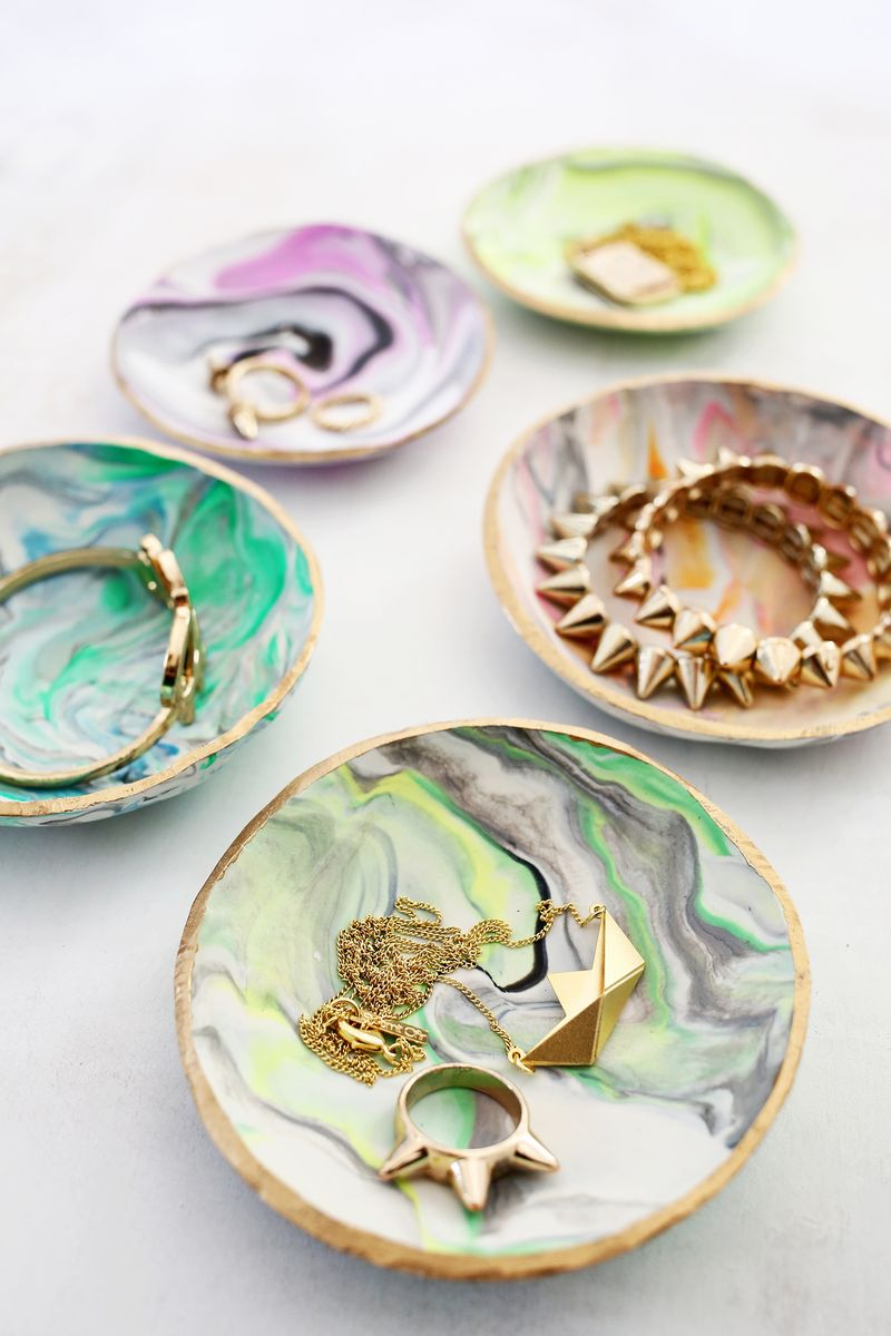 DIY marble clay jewelry dish