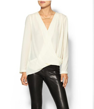 Eight Sixty Womens Stella Draped Top Size L - Ivory