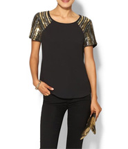 Piperlime Collection Womens Embellished Shoulder Woven Tee