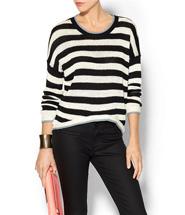 RD Style Womens Stripe Hi Lo Sweater Size L - Blue fog