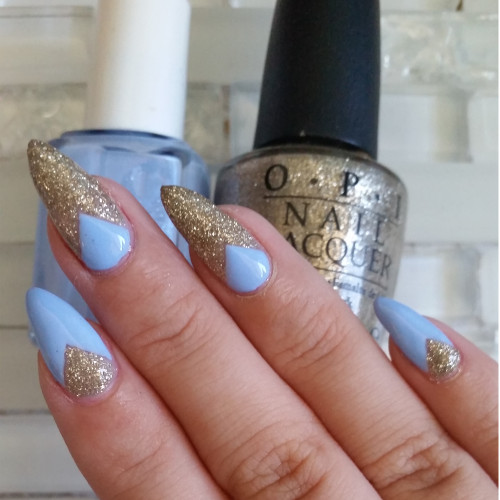 blue and gold deep V nails