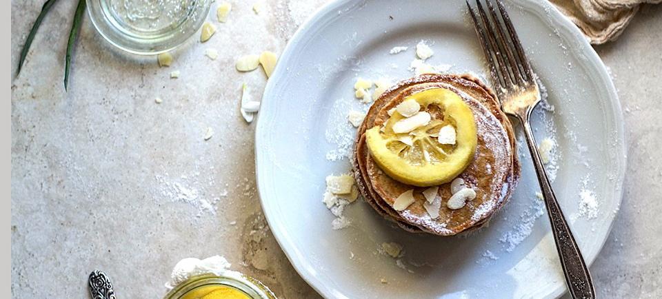 YUM: Vegan Sourdough Cinnamon Pancakes With Lemon Topping